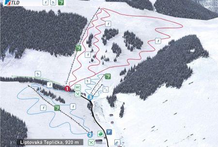Mapa střediska - areálu - Ski Park Liptovská Teplička