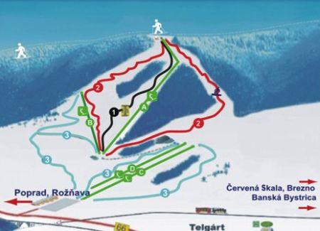 Mapa střediska - areálu - Ski Centrum Telgárt