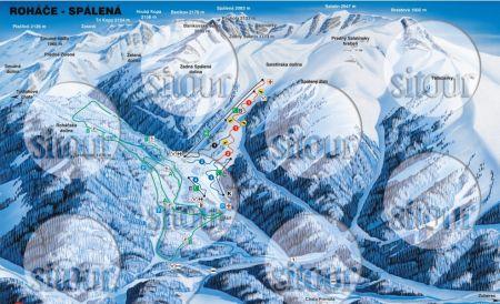 Mapa střediska - areálu - Roháče - Spálená dolina