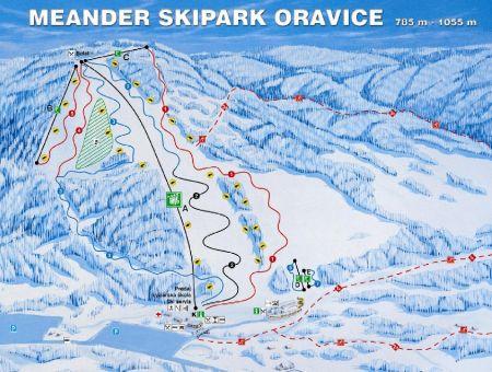 Mapa střediska - areálu - Meander Skipark Oravice
