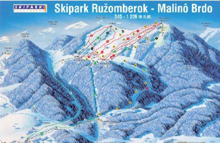 Mapa střediska - areálu - Skipark Rožumberok - Malino Brdo