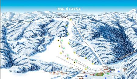 Mapa střediska - areálu - Snowland - Valčianska dolina