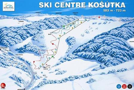 Mapa střediska - areálu - Ski Centre Košútka - Hriňová