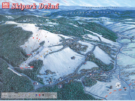 Mapa střediska - areálu - Skipark Dešná