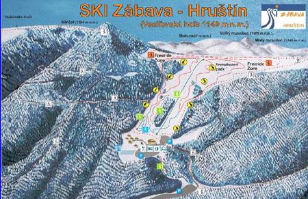 Mapa střediska - areálu - Ski Zábava - Hruštín