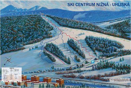 Mapa střediska - areálu - Ski Centrum Nižná Uhliská