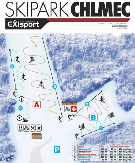 Mapa střediska - areálu - Ski Park Chlmec