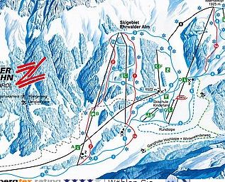 Mapa střediska - areálu - Ehrwalder Almbahn