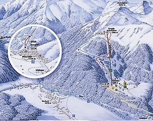 Mapa střediska - areálu - Jöchelspitze -Lechtaler Bergbahnen
