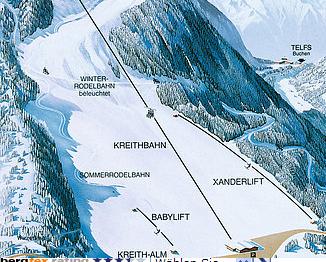 Mapa střediska - areálu - Kreithlift Leutasch