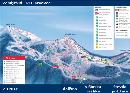Mapa střediska - areálu - Krvavec