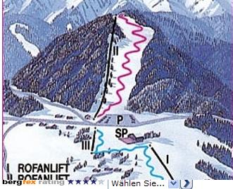 Mapa střediska - areálu - Steinberg am Achensee -Rofanlifte