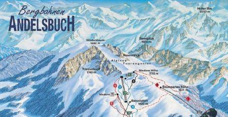 Mapa střediska - areálu - Andelsbuch