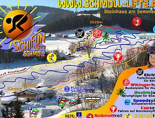 Mapa střediska - areálu - Schmoll Lifte - Steinhaus am Semmering