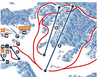Mapa střediska - areálu - St. Jakob im Walde