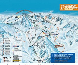 Mapa střediska - areálu - Stubai - Stubaier Gletscher