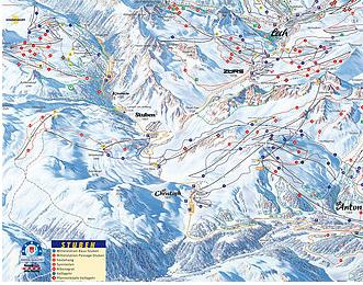 Mapa střediska - areálu - Stuben am Arlberg