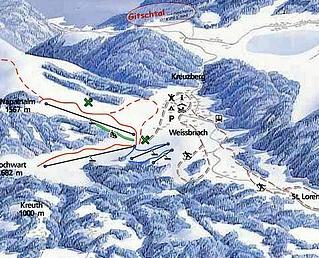 Mapa střediska - areálu - Gitschtal - Weißbriach