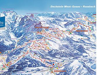 Mapa střediska - areálu - Gosau - Dachstein West